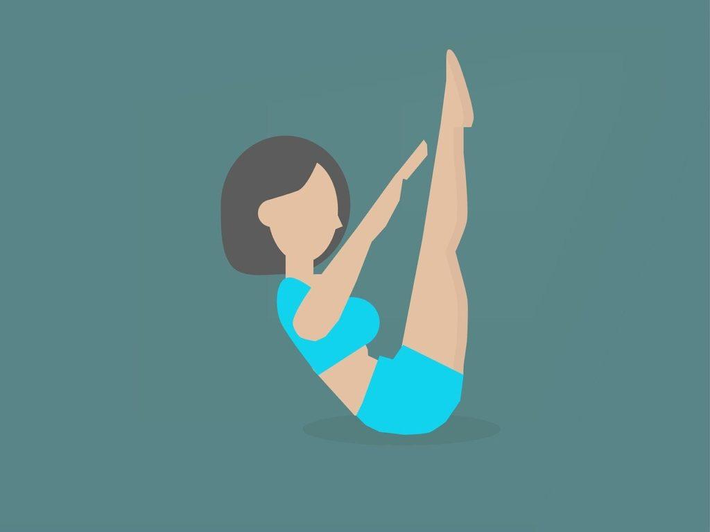 Ilustración de una postura de Pilates