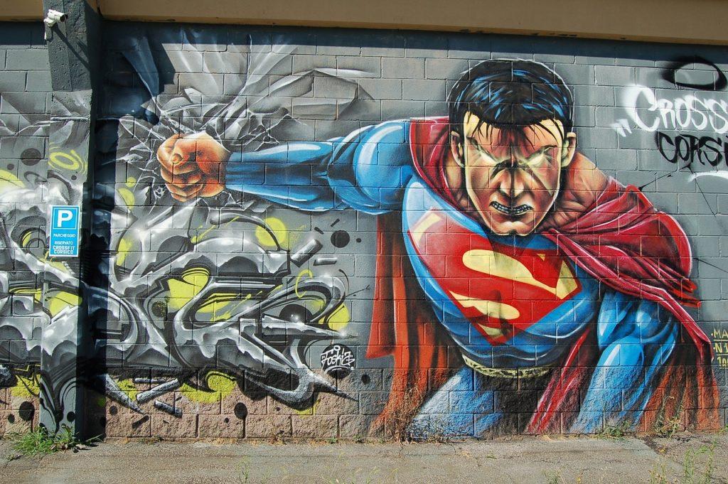 Grafiti que representa a Supermán