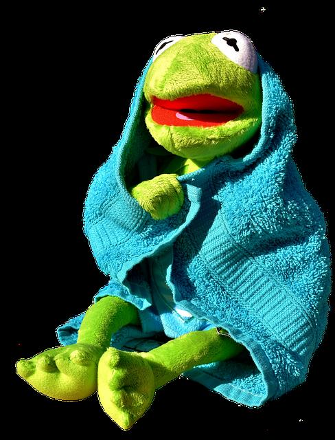 La Rana Gustavo con toalla azul