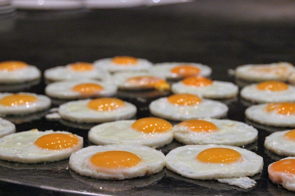 Huevos fritos en un buffet libre